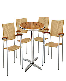 Outdoor Round Bistro Dining Set with Pe Rattan of 5 Pieces