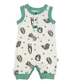 finn + emma 100% Organic Sloth Print Romper Boy