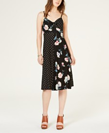 American Rag Juniors' Mixed Print Tie-Front Dress, Created for Macy's