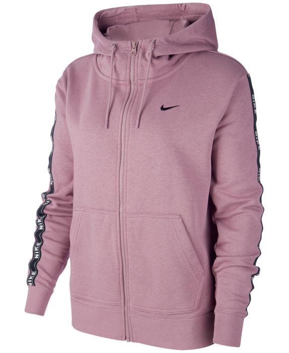 Nike Sportswear Cotton Logo Zip Hoodie, Purple, Size: XL