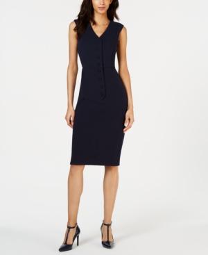 Calvin Klein Dresses BUTTON-FRONT SHEATH DRESS