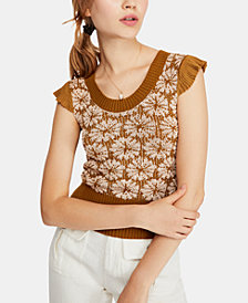Free People Patterned Cap-Sleeve Sweater