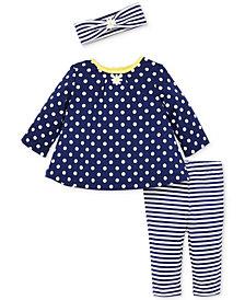 Little Me Baby Girls 3-Pc. Dot-Print Cotton Top, Striped Leggings & Headband Set