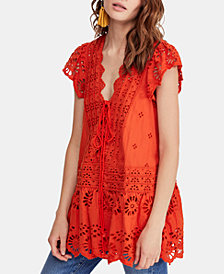 Free People Cotton Lace-Up Eyelet Top