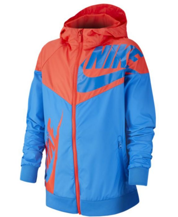 Nike Big Boys Hooded Sportswear Windrunner Colorblocked Jacket, Blue, Size: L (14/16)