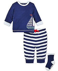 Little Me Baby Boys 3-Pc. Sailboat Top, Striped Jogger Pants & Socks Set