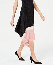 Alfani Asymmetric Pleated Colorblock Skirt, Created for Macy's