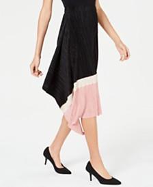Alfani Petite Pleated Colorblocked Skirt, Created for Macy's