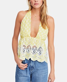 Free People Lunch Date Deep-V Halter Top