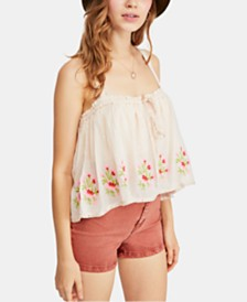 Free People Golden Hour Cotton Lace-Trim Embroidered Top