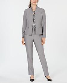 Kasper Stand-Collar Blazer, Printed Keyhole Shell & Career Pants