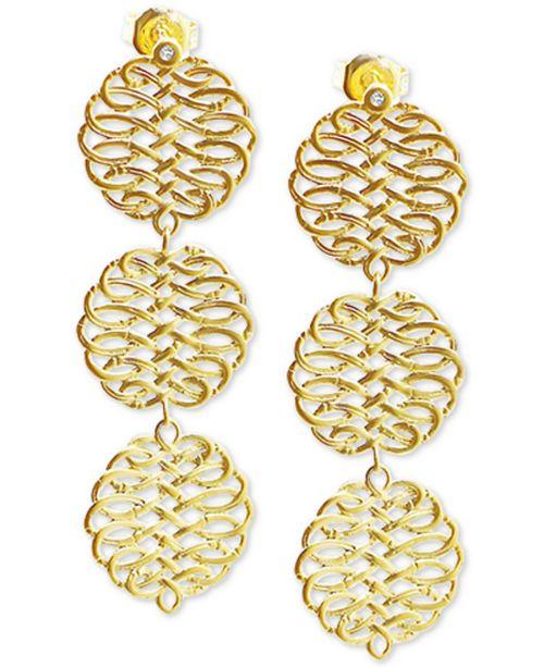 Kesi Jewels Diamond Accent Triple Drop Earrings in 18k Gold-Plated Sterling Silver