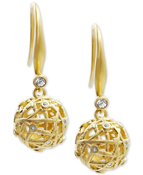 Kesi Jewels Diamond and White Topaz Drop Earrings in 18k Gold over Sterling Silver