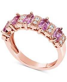 Pink Sapphire (3-1/6 ct. t.w.) and Diamond (1/6 ct. t.w.) Ring in 14k Rose Gold