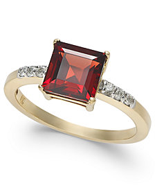 Garnet (2-1/10 ct. t.w.) & Diamond (1/10 ct. t.w.) Ring in 14k Gold