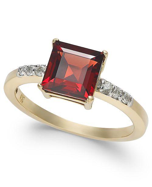 Macy's Garnet (2-1/10 ct. t.w.) & Diamond (1/10 ct. t.w.) Ring in 14k Gold