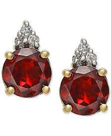 Rhodolite Garnet (1-9/10 ct. t.w.) & Diamond Accent Stud Earrings in 14k Gold
