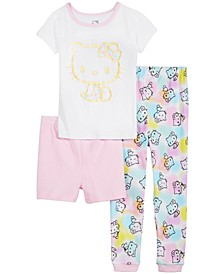 Little & Big Girls 3-Pc. Hello Kitty Cotton Pajama Set