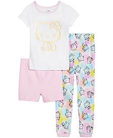 Little & Big Girls 3-Pc. Hello Kitty Cotton Pajama Set