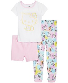 AME Little & Big Girls 3-Pc. Hello Kitty Cotton Pajama Set