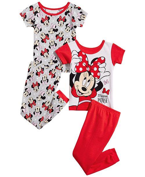 AME Toddler Girls 4-Pc. Minnie Mouse Cotton Pajama Set