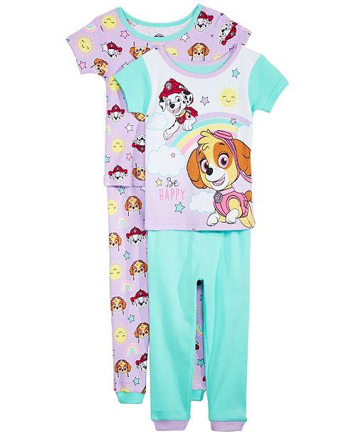 AME Toddler Girls 4-Pc. PAW Patrol Cotton Pajama Set