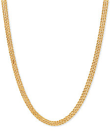 """Diamond Accent Triple Rope 17"""" Chain Necklace in 14k Gold"""