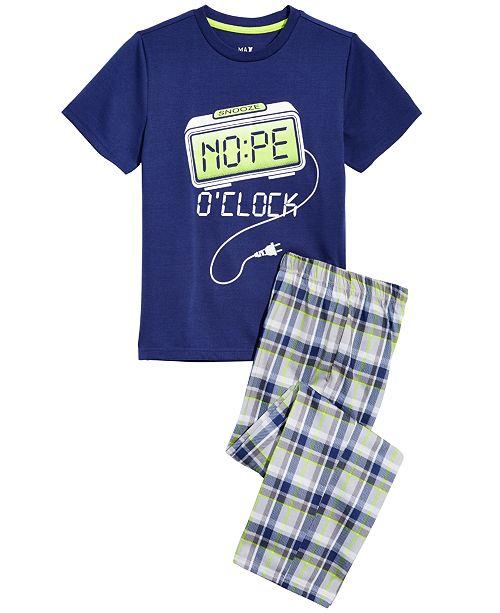 Max & Olivia Big Boys 2-Pc. Nope O-Clock Pajama Set