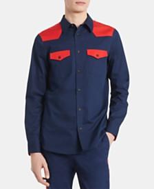 Calvin Klein Men's Slim-Fit Twill Western Shirt