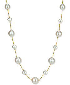 "Cultured Freshwater Pearl (7-14mm) 18"" Necklace in 14k Gold"