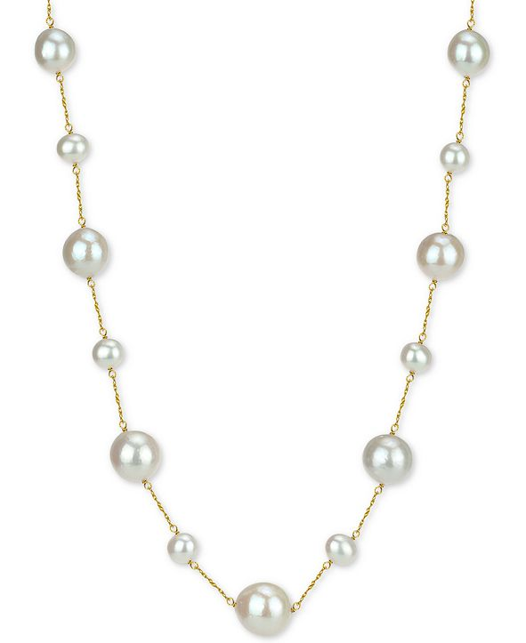 """Macy's Cultured Freshwater Pearl (7-14mm) 18"""" Necklace in 14k Gold"""