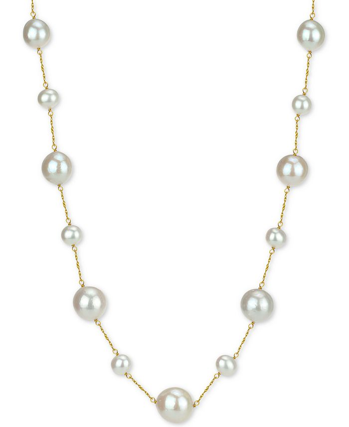 """Macy's - Cultured Freshwater Pearl (7-14mm) 18"""" Necklace in 14k Gold"""