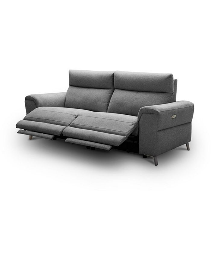 """Furniture - Raymere 86"""" 2-Pc. Fabric Sofa with 2 Power Motion & Power Headrests"""