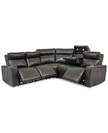Oaklyn 5-Pc. Leather Sectional Sofa with 3 Power Motion Recliners & 1 Drop Down Table