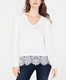 I.N.C. Lace-Hem V-Neck Sweater, Created for Macy's