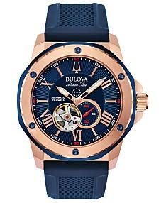 3407829fb9f Bulova Men's Automatic Marine Star Blue Silicone Strap Watch 45mm