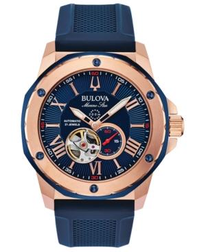 Bulova Watches MEN'S AUTOMATIC MARINE STAR BLUE SILICONE STRAP WATCH 45MM