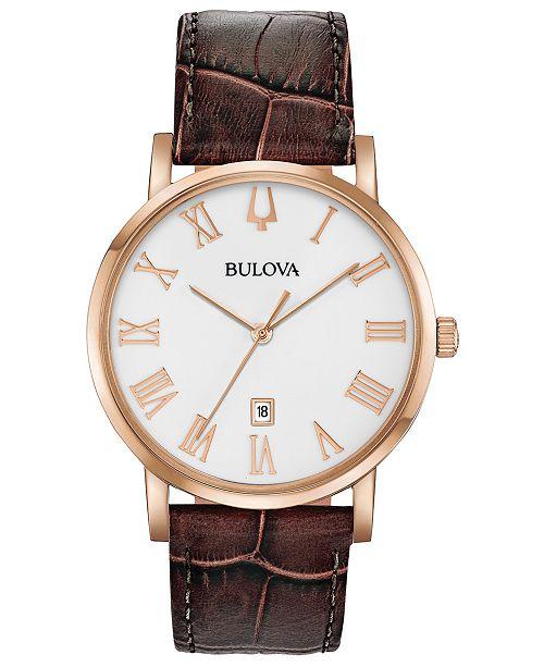 Bulova Men's American Clipper Brown Leather Strap Watch 40mm