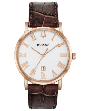 Bulova Watches MEN'S AMERICAN CLIPPER BROWN LEATHER STRAP WATCH 40MM