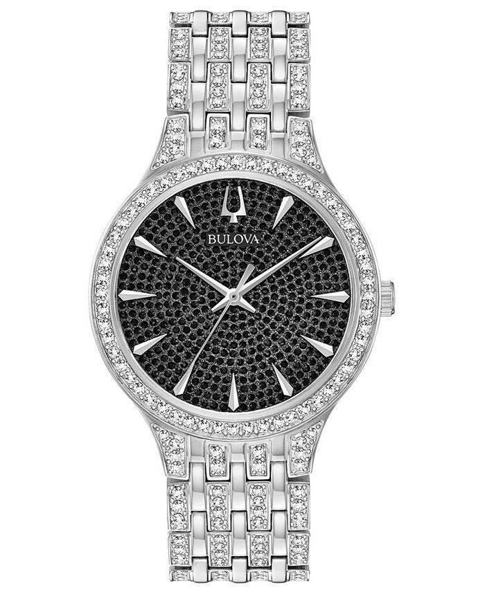 Bulova - Men's Phantom Crystal-Accent Stainless Steel Bracelet Watch 40mm