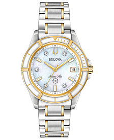 Bulova Women's Marine Star Diamond-Accent Two-Tone Stainless Steel Bracelet Watch 34mm