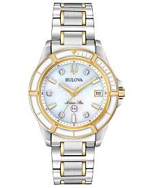 Bulova Women's Marine Star Diamond-Accent Two-Tone Stainless Steel Bracelet Watch 34mm