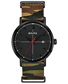 Bulova Men's Aerojet Camouflage Polyester Strap Watch 39mm