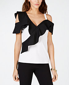 INC Colorblocked-Ruffle Cold-Shoulder Top, Created for Macy's