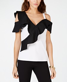I.N.C. Colorblocked-Ruffle Cold-Shoulder Top, Created for Macy's