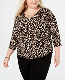I.N.C. Plus Size Embellished Animal-Print Top, Created for Macy's