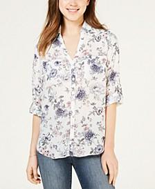 Juniors' Printed Button-Up Shirt