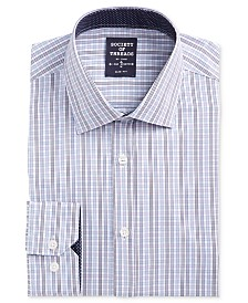 Society of Threads Men's Slim-Fit Performance Stretch Ground Check Dress Shirt