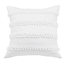 Pom Pom White Square Decorative Pillow