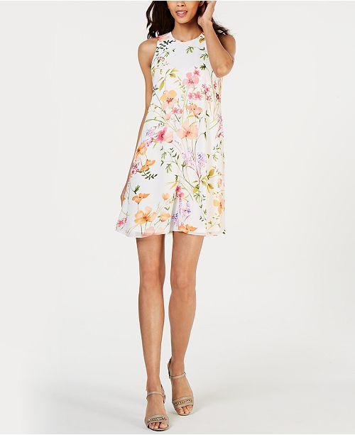 852ea5c291d32e Calvin Klein Petite Floral-Print Shift Dress & Reviews - Dresses ...